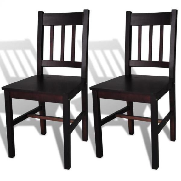 Vidaxl sedie da pranzo 2 pz marrone scuro in legno di pino