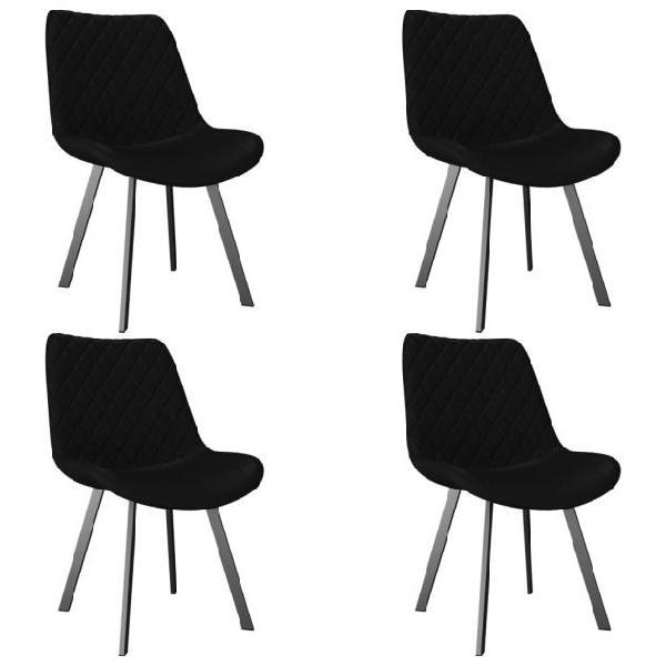 Vidaxl sedie da pranzo 4 pz nere in similpelle