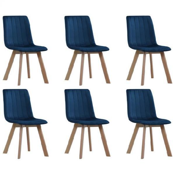Vidaxl sedie da pranzo 6 pz blu in velluto