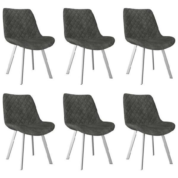 Vidaxl sedie da pranzo 6 pz grigie in similpelle scamosciata