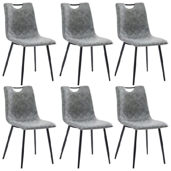 Vidaxl sedie da pranzo 6 pz grigio chiaro in similpelle