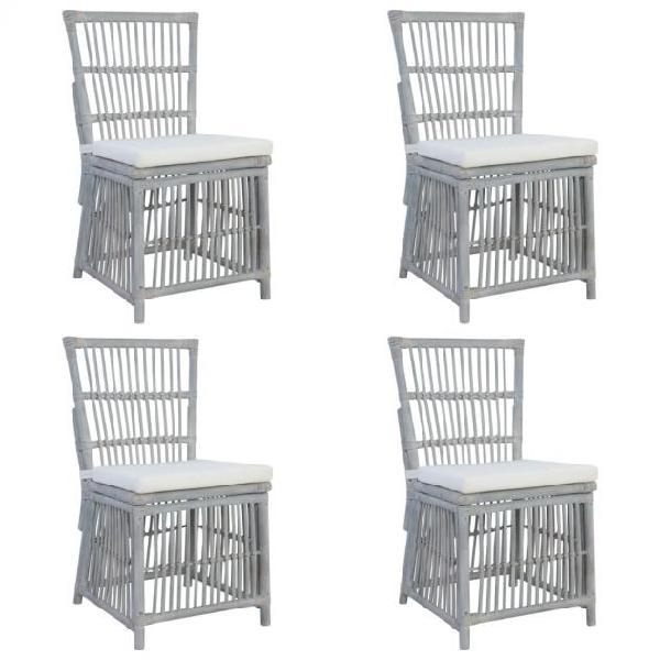 Vidaxl sedie da pranzo con cuscini 4 pz grigie in rattan