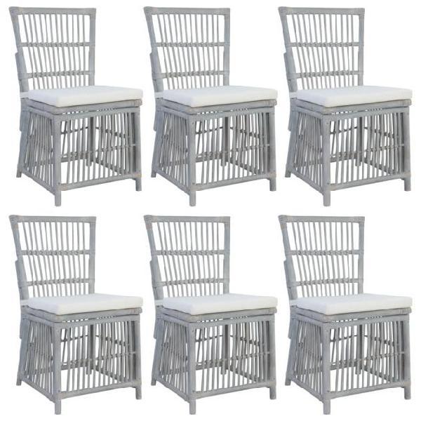 Vidaxl sedie da pranzo con cuscini 6 pz grigie in rattan