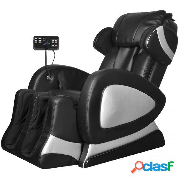 Vidaxl sedia massaggiante con schermo nera in similpelle