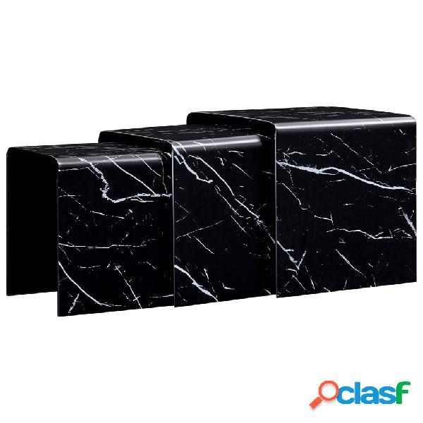 Vidaxl tavolini ad incastro 3pz marmo nero 42x42x41,5cm in vetro