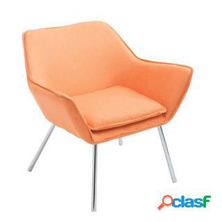 Poltroncina alice, design moderno, seduta imbottita in tessuto arancione