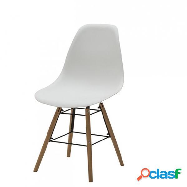 Set di due sedie dsw in polipropilene bianche e gambe in faggio
