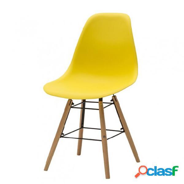 Set di due sedie dsw in polipropilene giallo e gambe in faggio