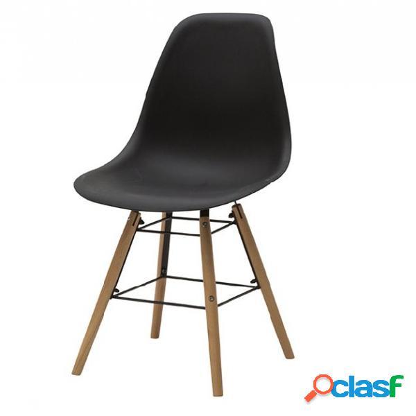 Set di due sedie dsw in polipropilene nero e gambe in faggio