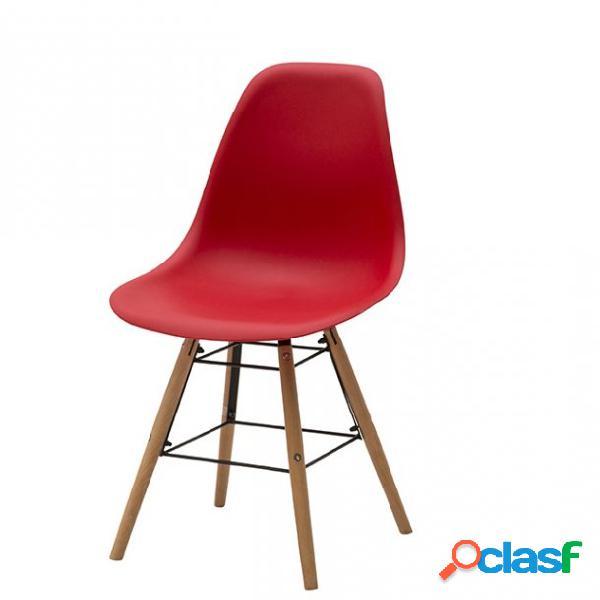 Set di due sedie dsw in polipropilene rosso e gambe in faggio