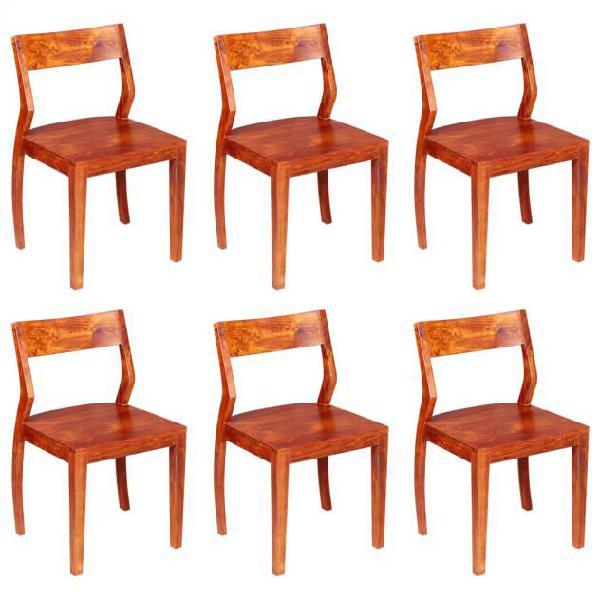 Vidaxl sedie da pranzo 6 pz massello di acacia con finitura