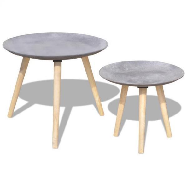 Vidaxl set tavolini da salotto 2 pz 55 cm e 44 cm grigio