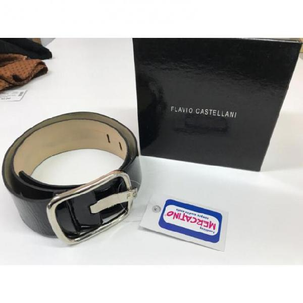 Cintura donna nera vernice castellani