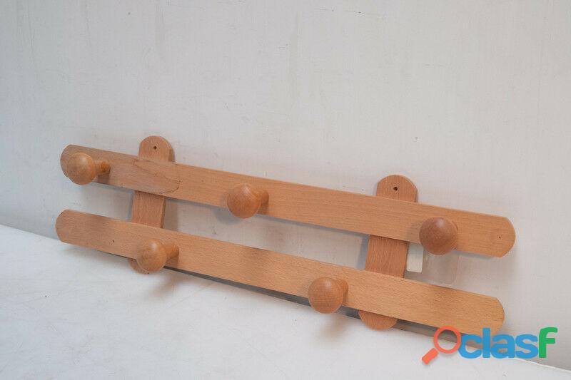 Appendiabiti rustico 5 posti in legno naturale Masidef
