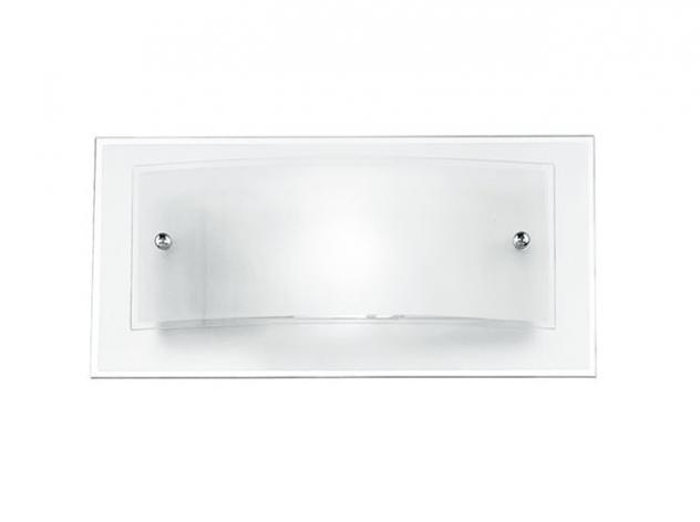 Applique moderna quadrata doppio vetro bianco satinato bordo