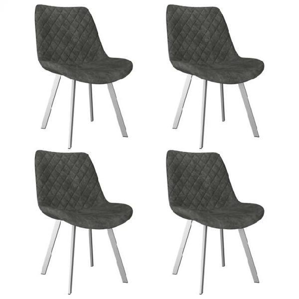 Vidaxl sedie da pranzo 4 pz grigie in similpelle scamosciata