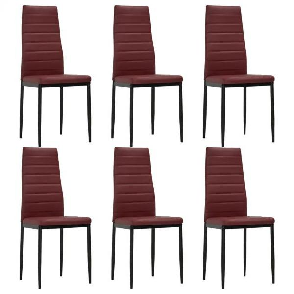 Vidaxl sedie da pranzo 6 pz rosso bordò in similpelle