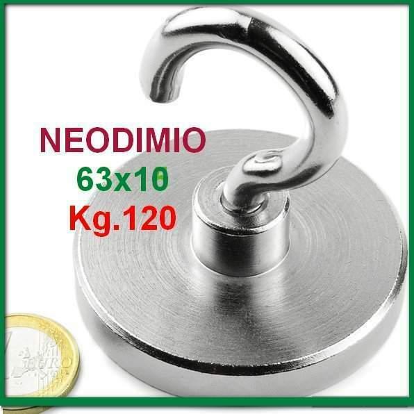 Neodimio magnete a gancio 63x10 mm 120 kg. calamita calamite