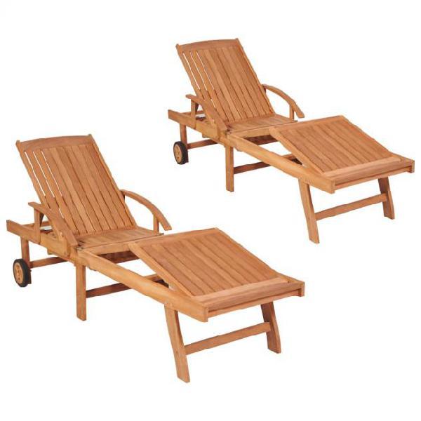 Vidaxl lettini prendisole 2 pz in legno massello di teak
