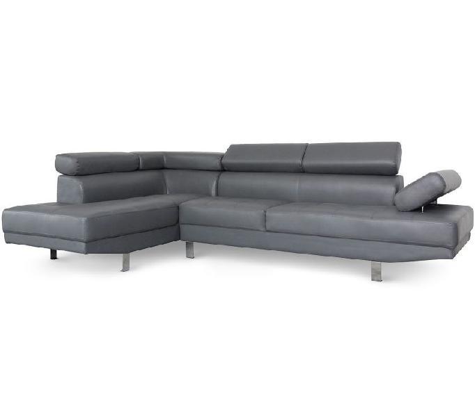 Divano angolare con poggiatesta sollevabili grigio in similp in vendita torino - vendita mobili usati