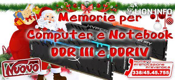 Memoria per computer o notebook ddr3 o ddr4