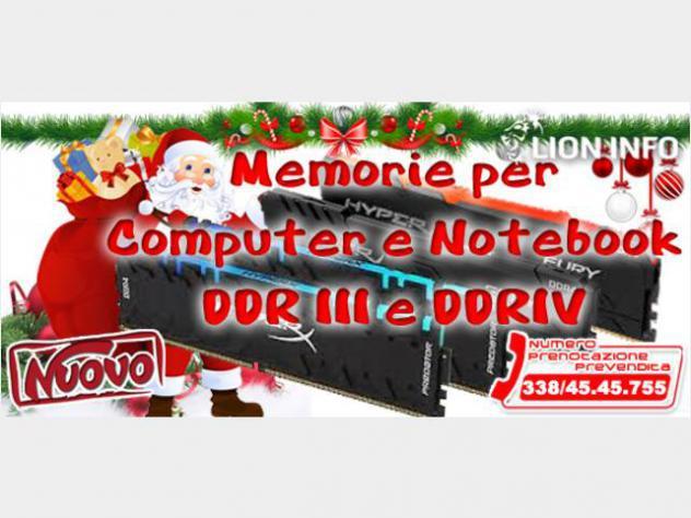 Memoria per computer o notebook ddr3 o ddr4 nuovo
