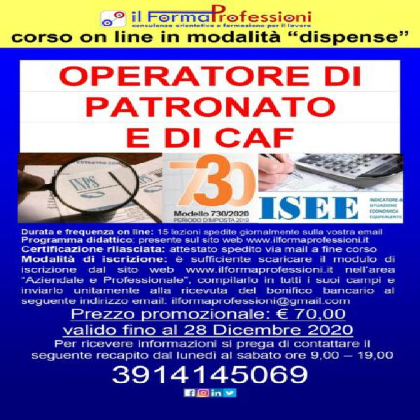 Corso on line operatore di patronato e caf