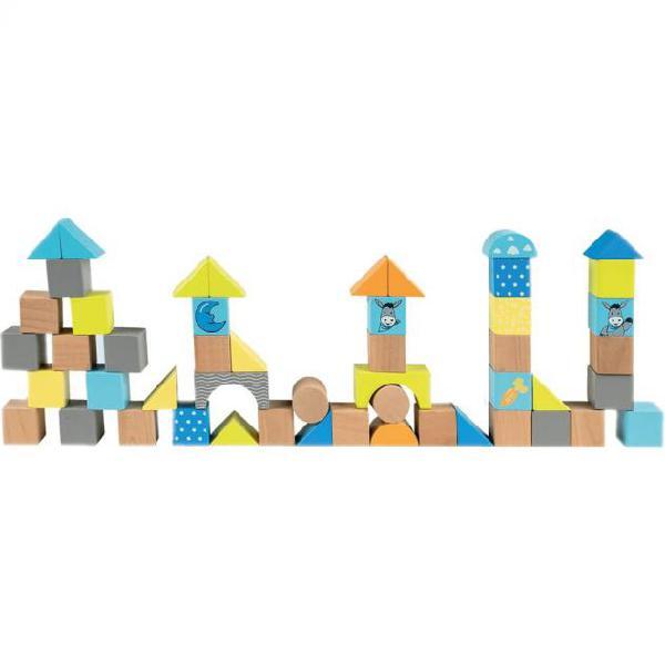 Happy people blocchi di costruzione legno asinello blu