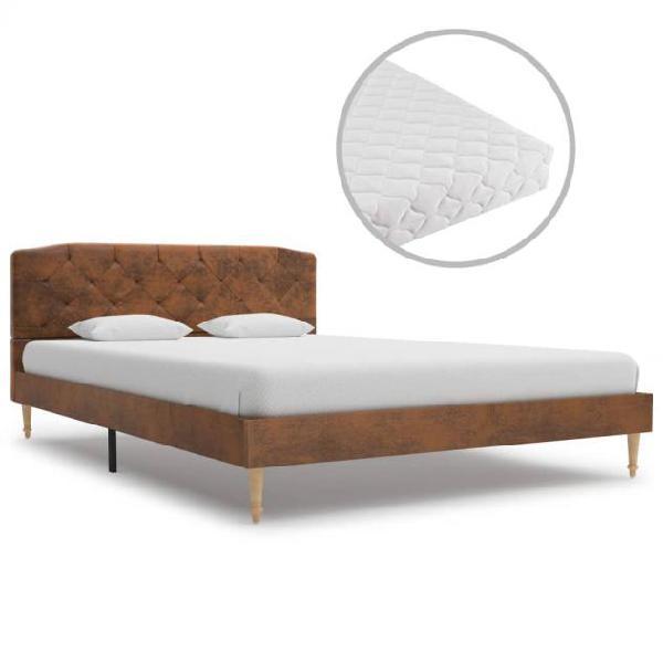 Vidaxl letto materasso marrone in similpelle scamosciata