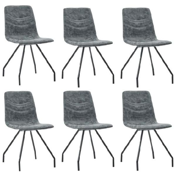 Vidaxl sedie da pranzo 6 pz nere in similpelle