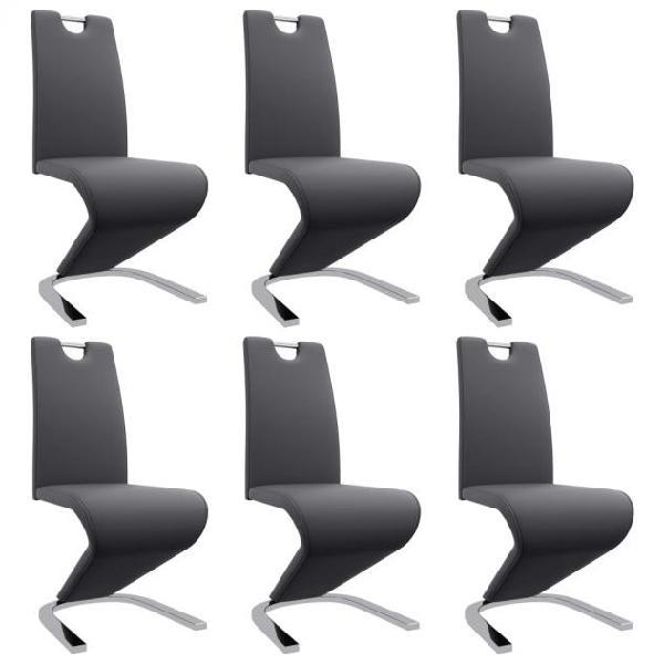Vidaxl sedie da pranzo con struttura a zigzag 6 pz grigie
