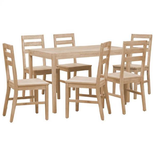 Vidaxl set da pranzo 7 pz in legno massello di acacia