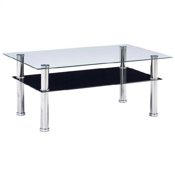 Vidaxl tavolino da caffè nero 100x60x42cm in vetro