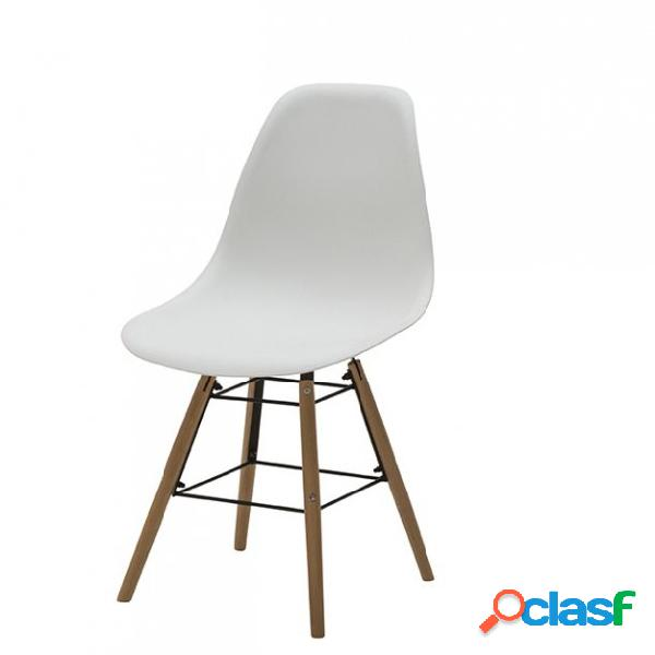 Set di due sedie dsw in polipropilene bianche e gambe in ...