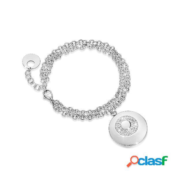 Bracciale in acciaio e cristalli bianchi