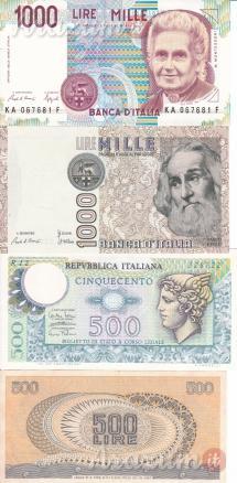 Banconote della lira e banconota rara