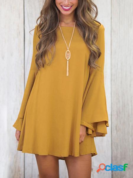 Yoins mini abito giallo con maniche a campana a doppio strato con design allacciato