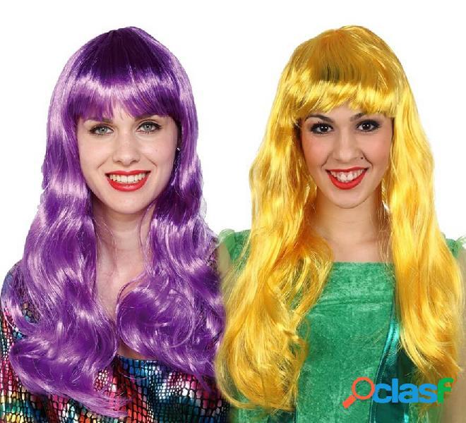 Lunga parrucca fluorescente in vari colori