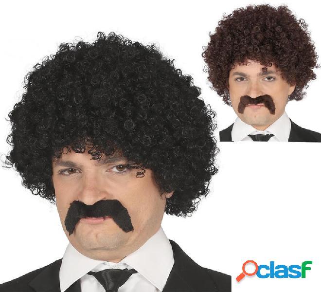 Parrucca riccia con baffi in vari colori