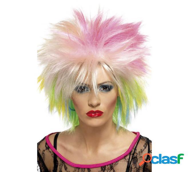 Parrucca stile anni '80 multicolore