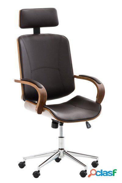 Poltrona da ufficio in legno noce e similpelle colore marrone