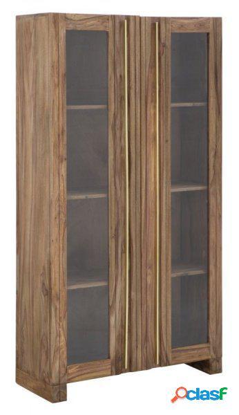 Vetrina cristalliera mobile soggiorno in legno sheesham con ripiani