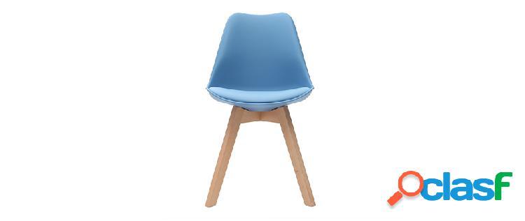 Gruppo di 2 sedie design piede legno seduta blu cielo pauline