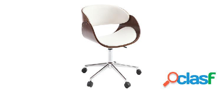 Poltrona design a rotelle bianca e legno color noce bent