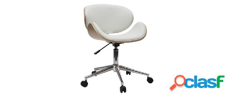 Sedia da ufficio design colore bianco e legno chiaro walnut
