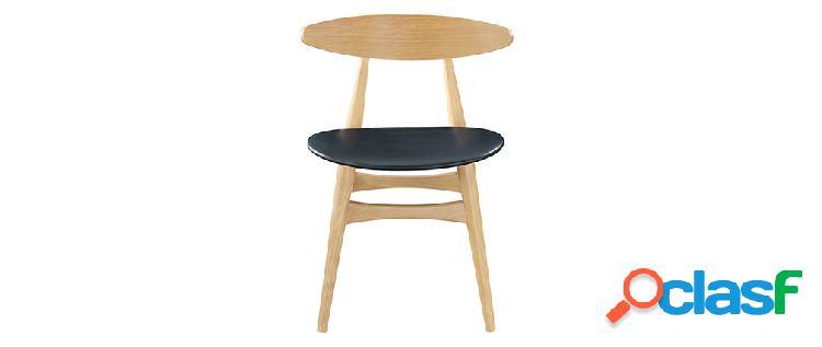 Gruppo di 2 sedie in legno chiaro e pu nero design scandinavo giapponese walford