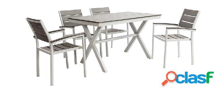 Salotto da giardino con tavolo e 4 sedie bianco e grigio viaggio