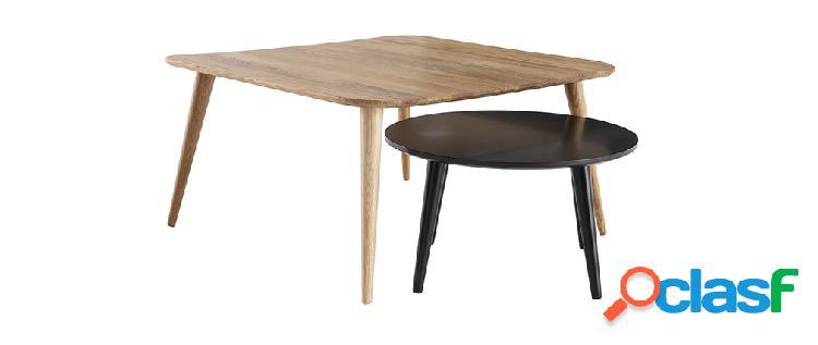 Tavolini bassi scandinavi in legno chiaro e nero (set di 2) tale