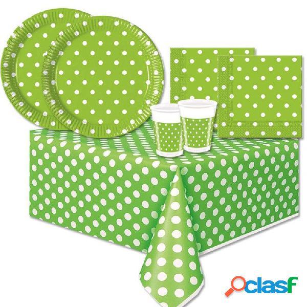 Kit n.42 accessori per la tavola verde pois
