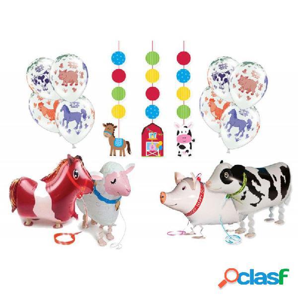 Set addobbi fattoria - palloncini walking e accessori animali fattoria
